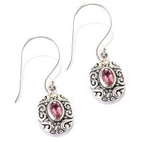 SS/18K OVAL GEM DANGLE EARRINGS