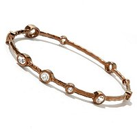 BRONZE/18KGP BRAC HAMMERED WHITE TOPAZ SLIP-ON BANGLE