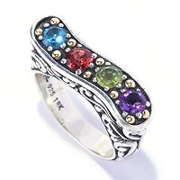 SS/18K RING MULTI GEM