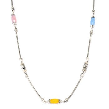 128-095 - Artisan Silver by Samuel B. 30'' Multi Color Chalcedony Necklace