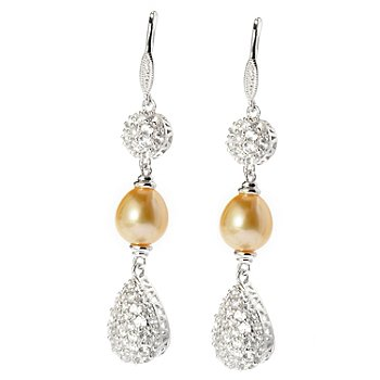 128-097 - Sterling Silver 8-9mm Golden South Sea Cultured Pearl & White Topaz Earrings