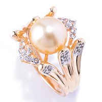 SS/YP GOLDEN SOUTH SEA PEARL & WHITE TOPAZ RING