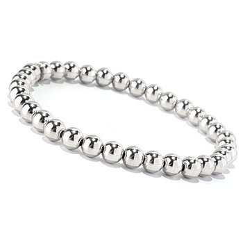 128-106 - Palatino™ Platinum Embraced™ 7'' Polished Beaded Stretch Bracelet
