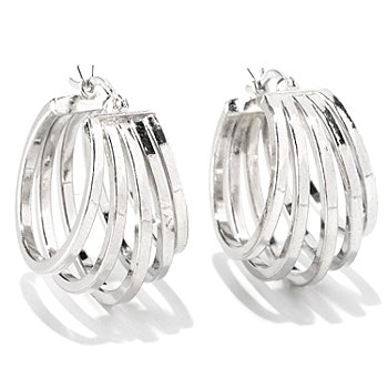 128-114 - Palatino™ Platinum Embraced™ Polished Five-Panel Hoop Earrings
