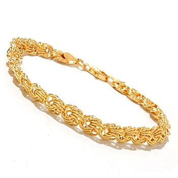 128-116 - Portofino Gold Embraced™ Polished Rosetta Link Bracelet