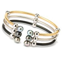 STSL 7-8mm TAHITIAN TRIPLE ROW TRI-COLOR BRACELET