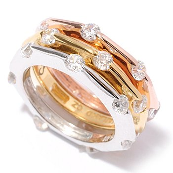 128-126 - Sonia Bitton for Brilliante® 2.31 DEW Tri-color Tension Round Cut Band Ring Set