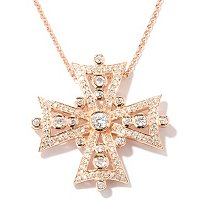 "SB SS/CHOICE PAVE AND BEZEL SET CROSS PENDANT W/ 18"" CHAIN"