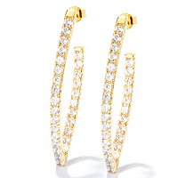 SB SS/CHOICE ROUND CUT MARQUISE SHAPE HOOP EARRINGS