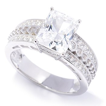 128-134 - Brilliante® Platinum Embraced™ 2.98 DEW Polished Emerald Cut Ring w/ Pave Set Shanks