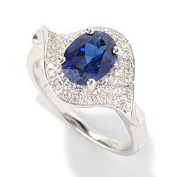 BRIL SS/PLAT SIMULATED BLUE SAPPHIRE OVAL AND PAVE RING