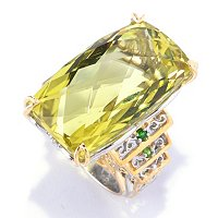 SS/PALL RING 35.00CT BRAZILIAN OURO VERDE & GEM