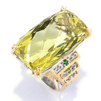 128-143 - Gems en Vogue II 30.12ctw Ouro Verde & Chrome Diopside Ring