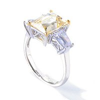 TYCO SS/PLAT CANARY RECTANGULAR TYCOON CUT RING W/ TAPERED BAGUETTES