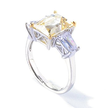 128-145 - TYCOON for Brilliante® Two-Tone 4.51 DEW Rectangular Cut Three-Stone Ring