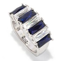 TYCO SS/PLAT SIMULATED SAPPHIRE AND WHITE 7 STONE BAGUETTE RING