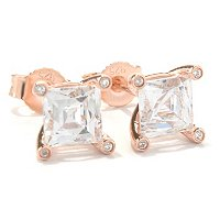 TYCO CC/CHOICE SQUARE CUT 4 PRONG STUD EARRINGS
