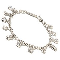 TYCO SS/PLATLINK BEZEL SET MULTI-CUT DANGLE LINK BRACELET