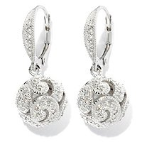 BRIL SS/PLAT ROUND CUT FILIGREE AND MILGRAIN BALL DROP EARRINGS