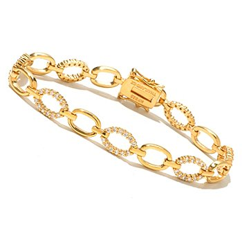 128-166 - Brilliante® Round Cut Simulated Diamond Oval Link Line Bracelet