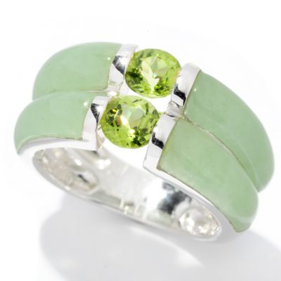 128-167 - Sterling Silver 1.00ctw Carved Jade & Peridot Double Row Ring