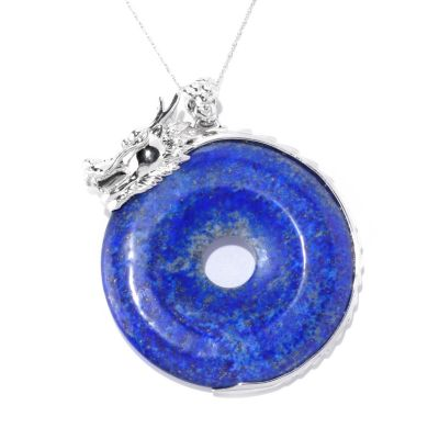 128-169 - Sterling Silver 55mm Donut Shaped Lapis Lazuli Dragon Pendant w/ Chain