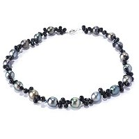 "SS 17.5"" 10mm CIRCLE TAHITIAN & FACETED BLACK SPINEL NECKLACE"