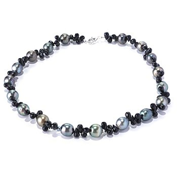 128-171 - Sterling Silver 17.5'' 10mm Semi-Baroque Tahitian Cultured Pearl & Spinel Necklace
