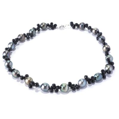 "128-171 - Sterling Silver 17.5"" 10mm Semi-Baroque Tahitian Cultured Pearl & Spinel Necklace"