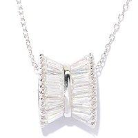 "BRIL SS/PLAT TAPPERED BAGUETTE BOW PENDANT W/ 18"" CHAIN - WATCH PLATING"