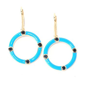 128-186 - Omar Torres Black Spinel & Turquoise Enamel Circle Drop Earrings