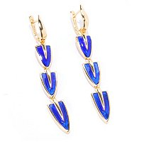 SS/18KV EAR ROYAL BLUE ENAMEL 3-DROP