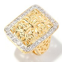 SB SS/18K YGP RECTANGULAR FILIGREE ROUND CUT BORDER RING