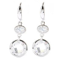 BRIL SS/PLAT OVAL & ROUND CHECKERBOARD CUT DROP EARRINGS