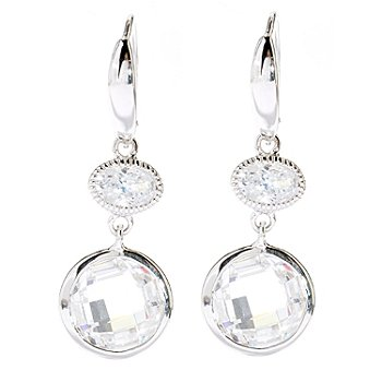 128-202 - Brilliante® Platinum Embraced™ 1.25'' 6.36 DEW Oval & Round Simulated Diamond Drop Earrings