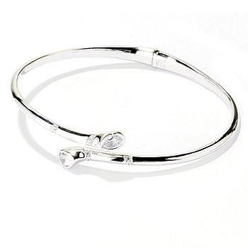 128-203 - Brilliante® Platinum Embraced™ 1.54 DEW Simulated Diamond Bypass Bangle Bracelet
