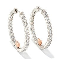 SB SS/TWO-TONE ROUND CUT SEMI-BEZEL HEART HOOP EARRINGS
