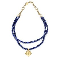 GOLDTONE DOUBLE STRAND LAPIS BEAD NECKLACE W/PENDANT