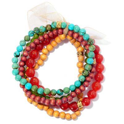 "128-215 - mariechavez Set of Five 6.75"" Gemstone Beaded Bracelets"