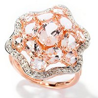 14K RG MORGANITE FLOWER RING W/ WHITE ZIRCON ACCENTS