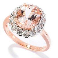 14K RG MORGANITE OVAL RING W/ WHITE ZIRCON ACCENTS