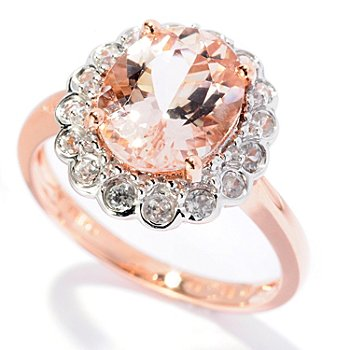 128-218 - Gem Treasures 14K Rose Gold 3.13ctw Oval Peach Morganite & White Zircon Ring