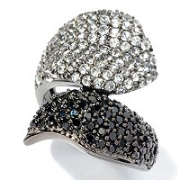 SS BLACK SPINEL AND WHITE TOPAZ RING