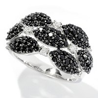 SS BLACK SPINEL AND WHITE ZIRCON RING