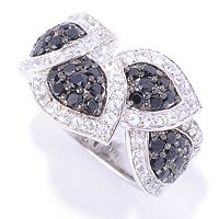 SS BLACK SPINEL & WHITE ZIRCON LEAF RING