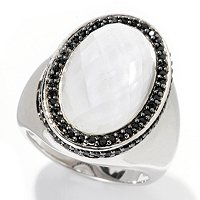 SS OVAL WHITE QUARTZ & BLACK SPINEL RING