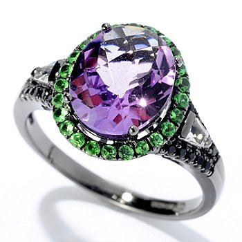 128-225 - Gem Treasures Sterling Silver 2.64ctw Oval Amethyst & Multi Gemstone Ring