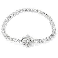 SB SS/CHOICE ROUND CUT MIMOSA SET TENNIS BRACELET WITH FLOWER CLASP