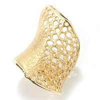 SS RING DIAMANTINI HONEYCOMB WIDE WAVE