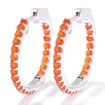 128-242 - Gem Treasures Sterling Silver Exotic Gemstone Hoop Earrings